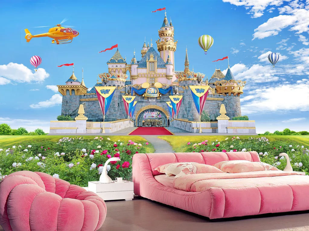 Kids Room 3D Castle Wall Mural Wallpaper