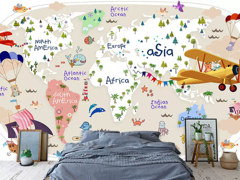 Cartoon World Map Custom Kids Wallpaper