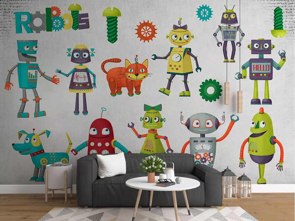 Kids Room Robots Design Custom Wallpaper