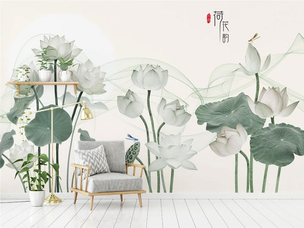 lotus chinoiserie mural wallpaper