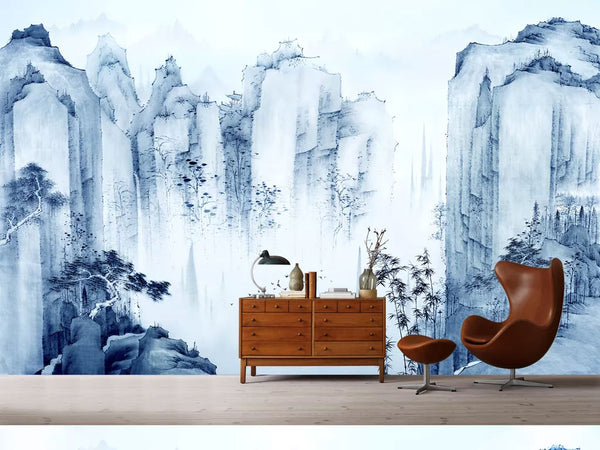 Chinoiserie Mountains Bamboo Mural Wallpaper