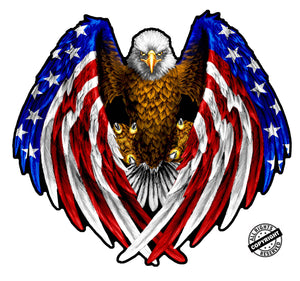 American Flag Eagle Wings Decal