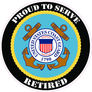 Coast Guard Retired Decal - | Nostalgia Decals Online military window stickers for cars and trucks, army vinyl decals for cars, marine corps vinyl stickers, die cut vinyl navy decals