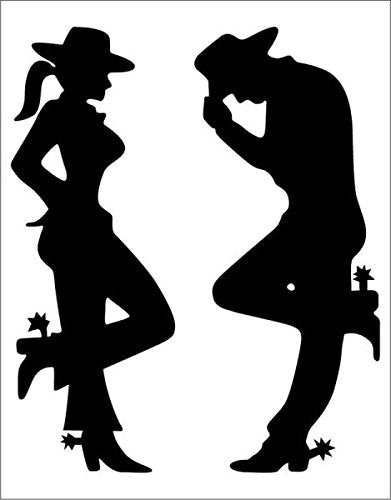 Cowgirl and Cowboy Silhouette Black Decal - 6