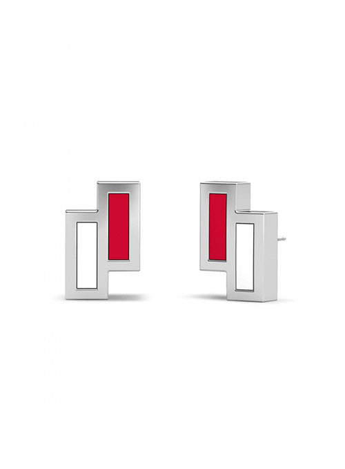 UFC Elements Asymmetric Red & White Enamel Stud Earrings in Sterling Silver