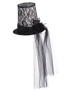 "10"" Feather/Rose Hat  Black (pack of 2)"