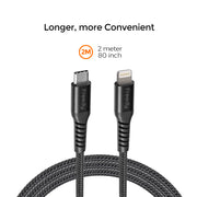 Freedy USB-C to Apple MFi Lightning Charging & Sync cable, 60W max., MFi certified, 79 in. - Black