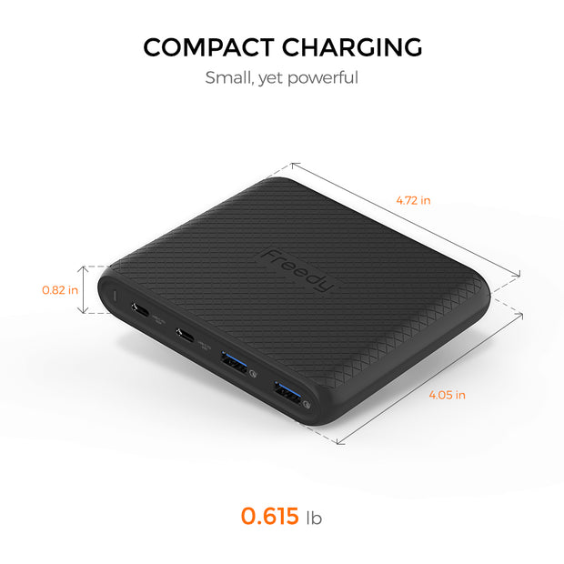 Freedy 90W USB-C Travel Wall Charger Power Station Fast Charging Adapter - [2 USB-C PD & 2 QC 3.0] - [USB-IF Certified] - Compatible w MacBook Pro/Air, iPad Pro, iPhone Xs/Xs Max/Xr, Nintendo Switch and more - Black