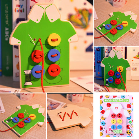 Wooden Baby Kids Montessori Educational Toys Children Beads Lacing Board Wooden Toys Kids Sew On Buttons Early teaching tools