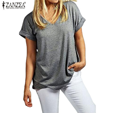 Zanzea Fashion Summer T Shirt Women 2018 New Short Sleeve Loose Casual Tops Tees Plus Size V Neck T-Shirts