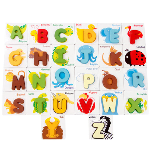 Wooden Learning Letter Digital Animal Educational Toys Puzzle Children Early Learning 3D Shapes Wood Jigsaw Puzzles