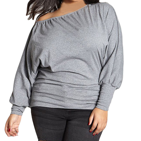 Women Plus Size Fashion Solid Long Sleeve Blouse Sexy Off Shoulder Top