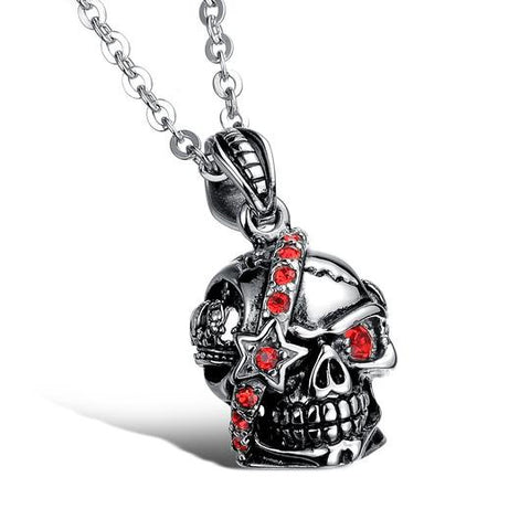 Bloody Stainless Steel and Cubic Zirconia Skull Pendant
