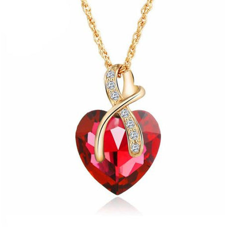 Gem Heart Ribbon Pendant