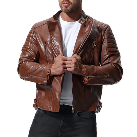 2018 New Jacket Men Hot Sale High Quality Motorcycle Leather Jacket Autumn Winter Coat Casual Solid Male Jackets