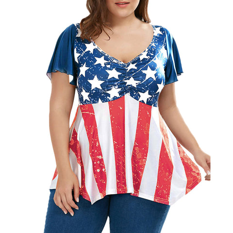 Women Plus Size Patriotic American Flag Printed Ruched Short Sleeved Blouse Tops