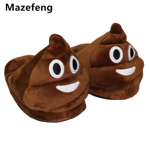 Mazefeng Cute Funny Winter Women&men Slippers Unisex Brown Fashion Plush Female Indoors Slippers Home Plain Warm Slippers Mlae