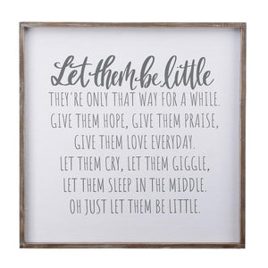 Let Them Be Little Framed Fabric Board