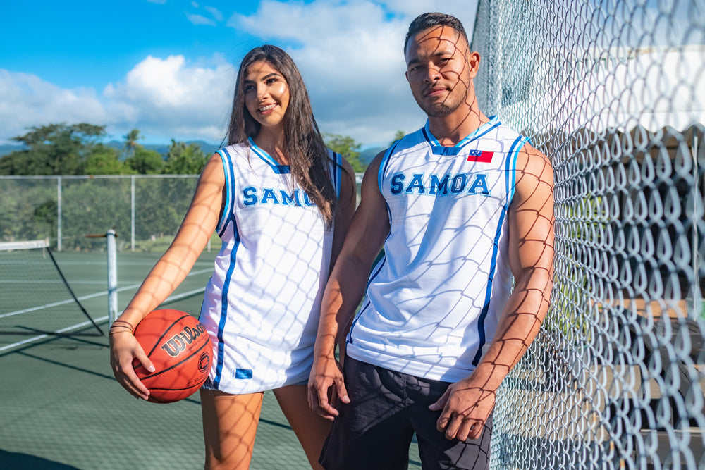 SAMOA62 Original Basketball Jersey - White/LT Blue
