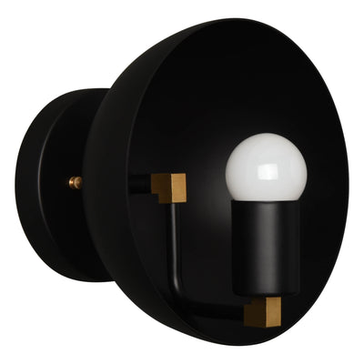 Modern single light wall sconce with a large dome
