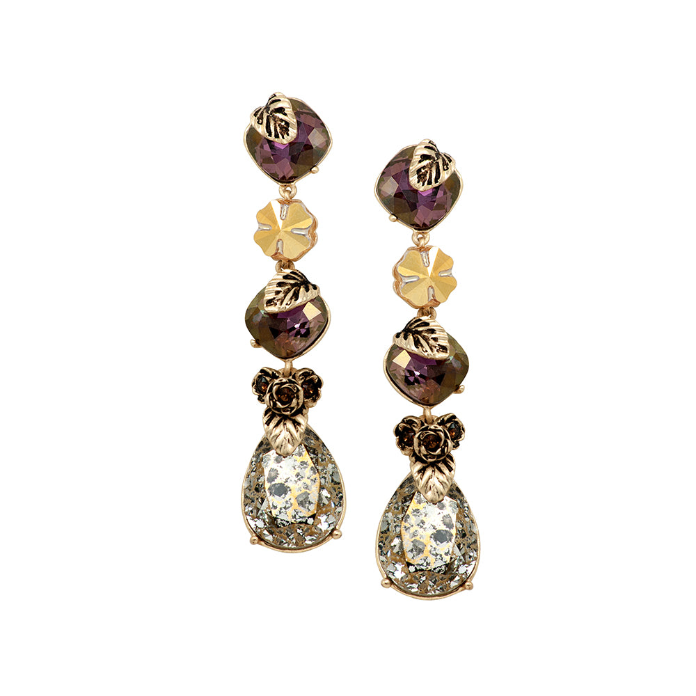 Gold & Plum Long Earrings