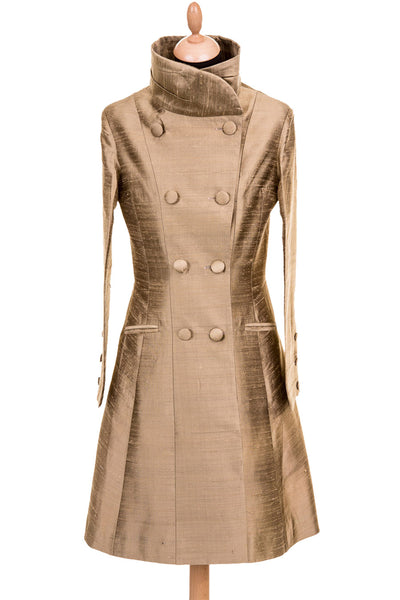 Delphine Coat in Oyster Gold