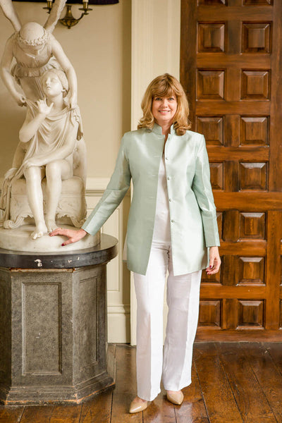 Long Nehru Jacket in Mint Ice