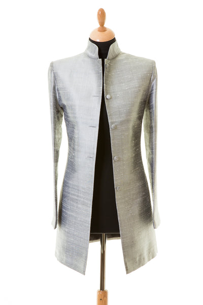 Long Nehru Jacket in Silver