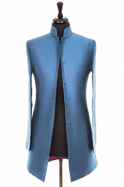 Long Nehru Jacket in French Blue