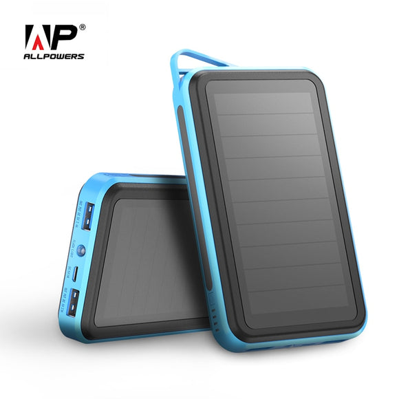 ALLPOWERS Solar Power Bank 15000mAh Dual USB Portable Power Charger Solar Panel for iPhone iPad Samsung Smart Phones Outdoors - i-bazar