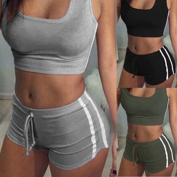 2Pcs Women Fitness Stretch Racerback Tank Top + Short Pants Suit Elastic Bra Sets Sexy Bodycon Clothing Sports Suit - i-bazar