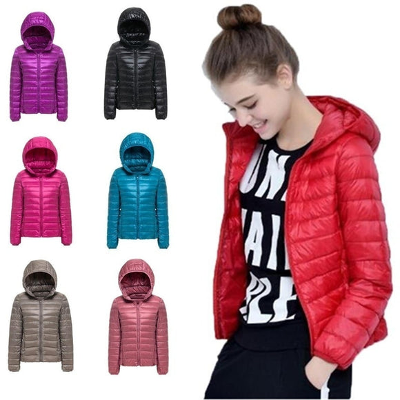 2019 New 27 colors Spring Parka Jacket Coat Warm Ultra Light Duck Down Padded Jacke Female Overcoat Slim Solid Coat Womens Parka - i-bazar