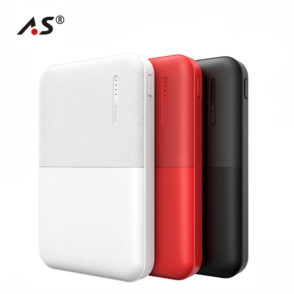 A.S Slim 5000mAh Power Bank Portable Ultra Thin Mini Powerbank 5000 External Battery Backup Pack for iPhone Poverbank - i-bazar