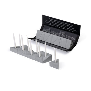 Logifaces concrete puzzle, 9 pieces, packaging & line made of puzzle with candles. Colour: ash.