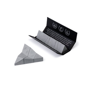 Logideez concrete puzzle, 9 pieces, packaging and triangle. Colour: ash.