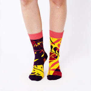 Nebouxii colourful socks with tropical mixed leaf design in yellow, dark blue, maroon and coral