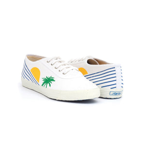 TRUE - white cotton sneakers with stylised sunset design