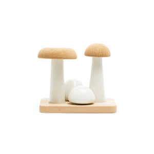 Ubikubi mushroom shaped ceramic container set with 5 containers with cork lid. front view