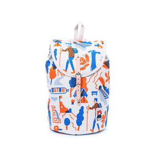 YKRA Sailorpack Kemping'73 Backpack white with blue and orange illustrations made out of cotton