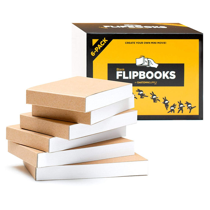 "Blank Flipbooks for Animation and Cartoon Creation, 6 Pack, 4.5"" x 2.5"", 180 Pages (90 Sheets)"