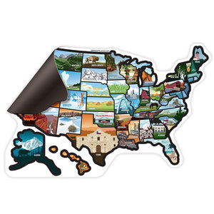 US Illustrated Magnet Sticker Map