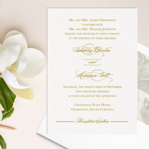 Charleston Wedding Invitation - Flat Printing