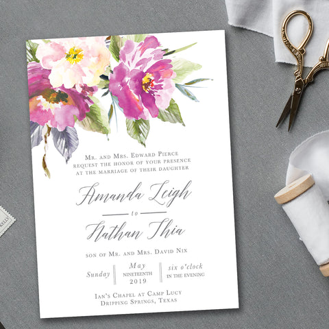 Bohemian Floral Wedding Invitation - Flat Printing