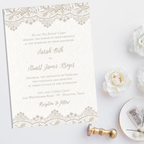 Antique Lace Wedding Invitation - Flat Printing