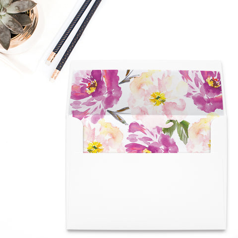 Bohemian Floral Purple Watercolor Envelope Liner
