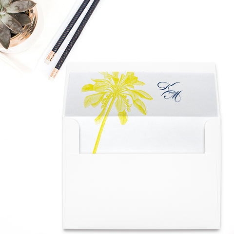 Palm Tree Monogram Envelope Liner