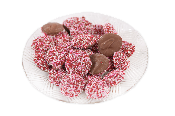 Milk Chocolate Valentine's Non-Pareils (Half Pound Box)