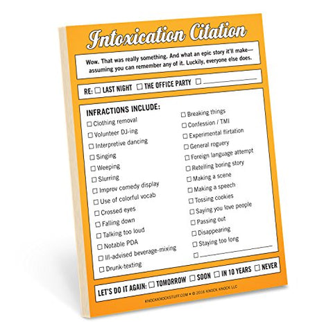Knock Knock Intoxication Citation Nifty Note Pad