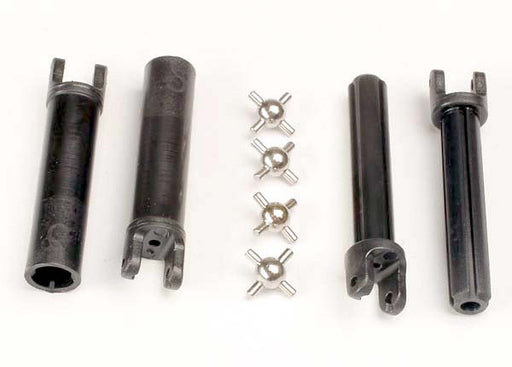 Traxxas Half shafts, long truck (external-splined (2)  and  internal-splined (2)/ metal U-joints (4)