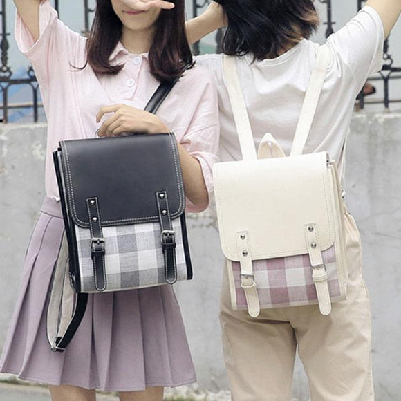 Fresh Two Belts Lattice Student Bag Grid College Square Backpack For Big Sale!- Fowish.com